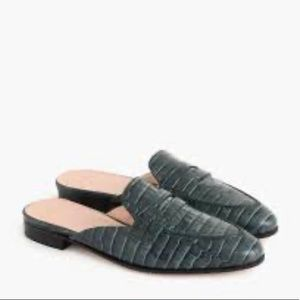 J Crew Academy Loafer Croc Embossed Leather Mules